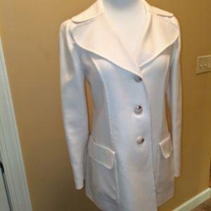 Talbot's Size 4 Cream Color Long Wool Blazer